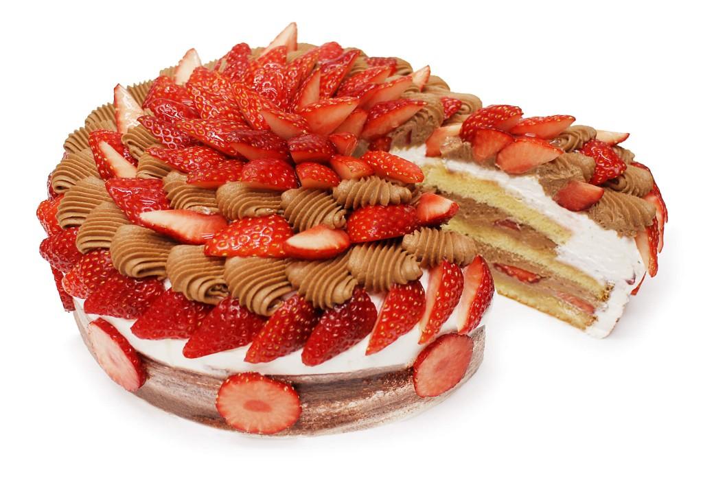 カフェコムサ『いちごとチョコカスタードクリームのショートケーキ』