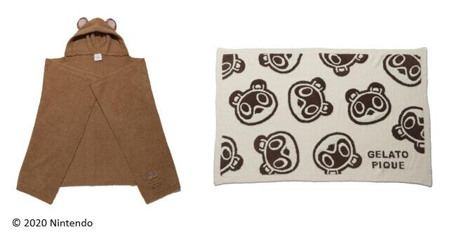 gelato pique(ジェラート ピケ)の『あつまれ どうぶつの森』コレクション-左:つぶまめブランケット 右:つぶまめジャガードブランケットB