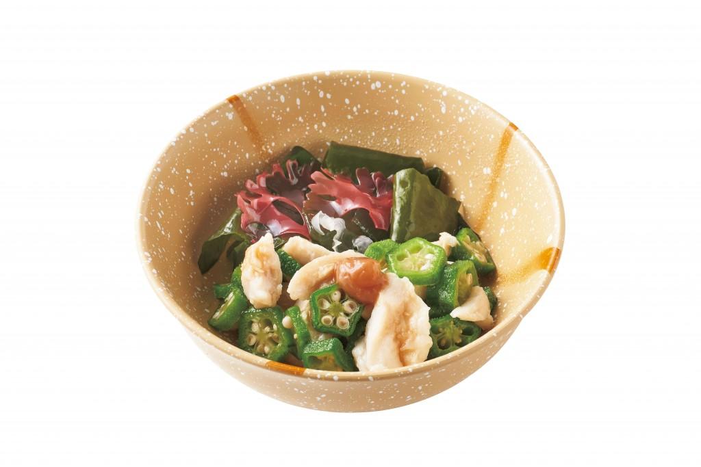 やよい軒の『やよい御膳』-蒸し鶏と海藻のぽん酢和え