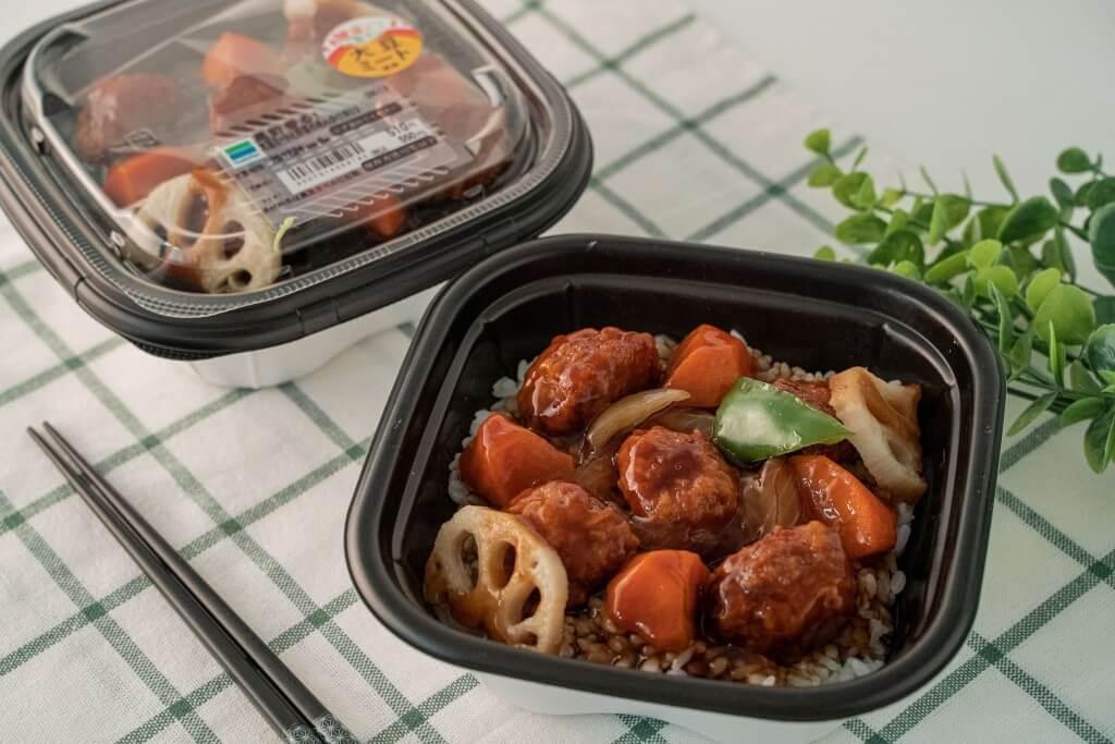 ファミリーマートの『黒酢香る!大豆ミートと野菜のあんかけ丼』