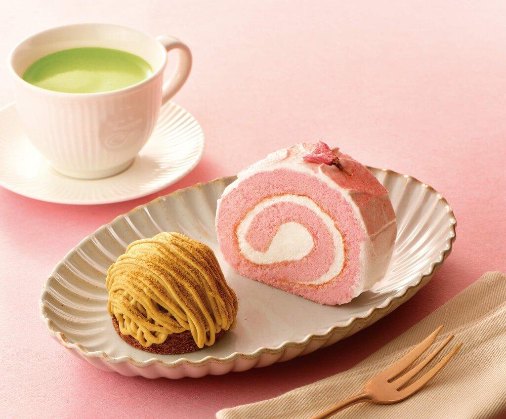 カフェ・ド・クリエ『桜のロールケーキ』『加賀棒ほうじ茶のモンブラン』