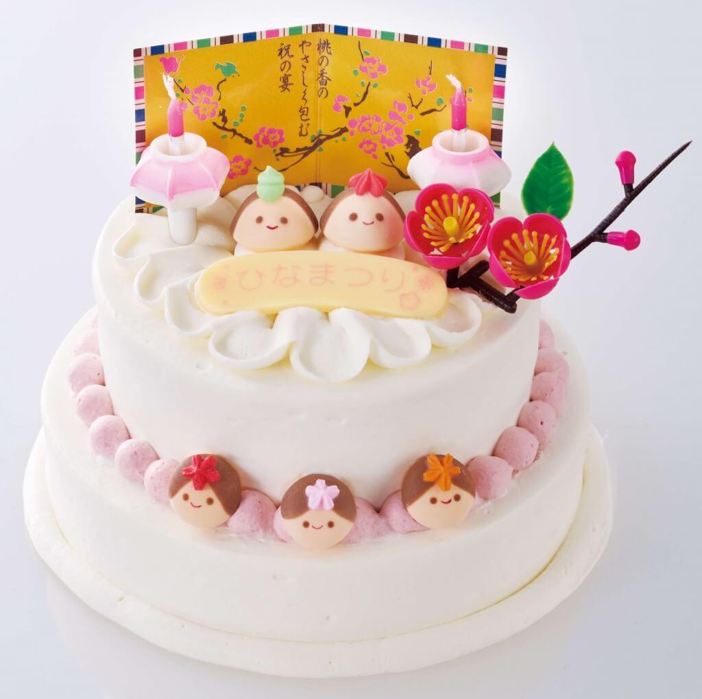 もりもとのひなまつり商品『おうちでデコっちゃおう!ひなまつりケーキ 完成イメージ』