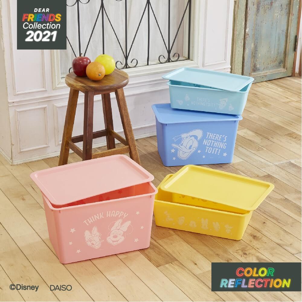 ダイソー『ディズニーデザインコレクション』-「ミッキー&フレンズ」フタ付スクエア収納ボックス各種