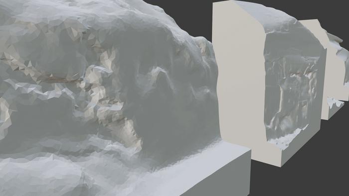 さっぽろウインターチェンジ 2021「Extreme Data Logger:都市と自然の記憶」-切削のために整えた雪壁の 3D スキャンデータ