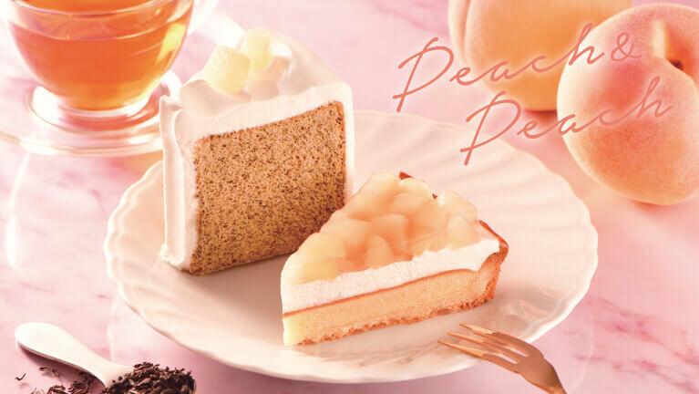 カフェ・ド・クリエの『桃のタルト』『桃とアールグレイのシフォンケーキ』