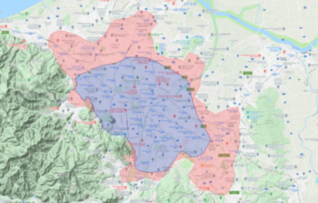 Uber Eatsの札幌市エリアでのサービス提供エリア(2021年4月8日より)