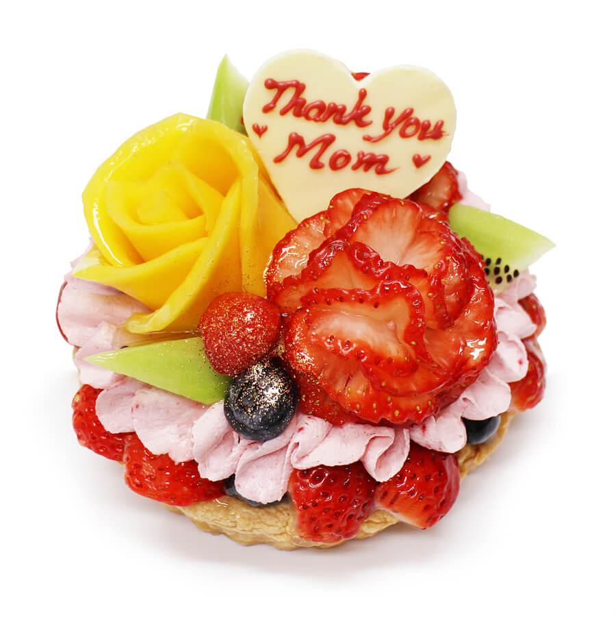 カフェコムサの『いちごカーネーションとマンゴーの花束のケーキ』
