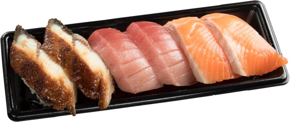 スシロー『GW100円(税込110円)ネタと肉祭』-「中トロ生キングサーモン大切りうなぎ6貫セット」