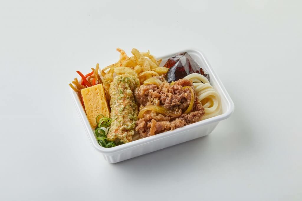 丸亀製麺の『丸亀うどん弁当』-2種の天ぷらと定番おかずの肉うどん弁当
