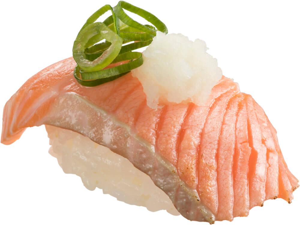 スシロー『GW100円(税込110円)ネタと肉祭』-「炙り生キングサーモン」