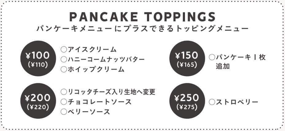 J.S. パンケーキカフェのパンケーキトッピング