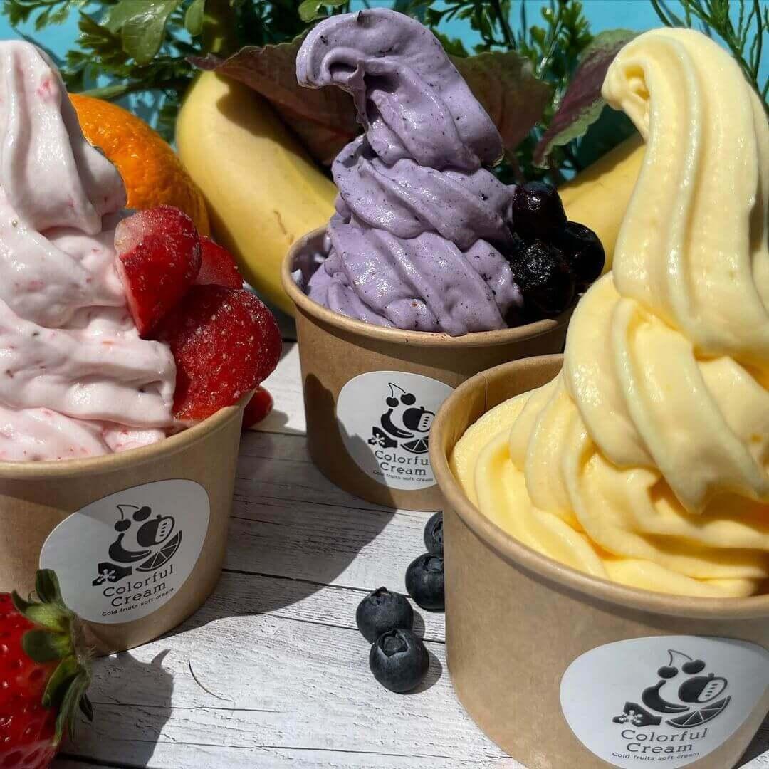 カラフルクリームのソフトクリーム