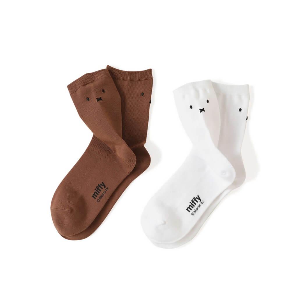 タビオ×「ミッフィー」とのコラボレーション靴下-ミッフィー刺繍ショートソックス(フェイス刺繍)