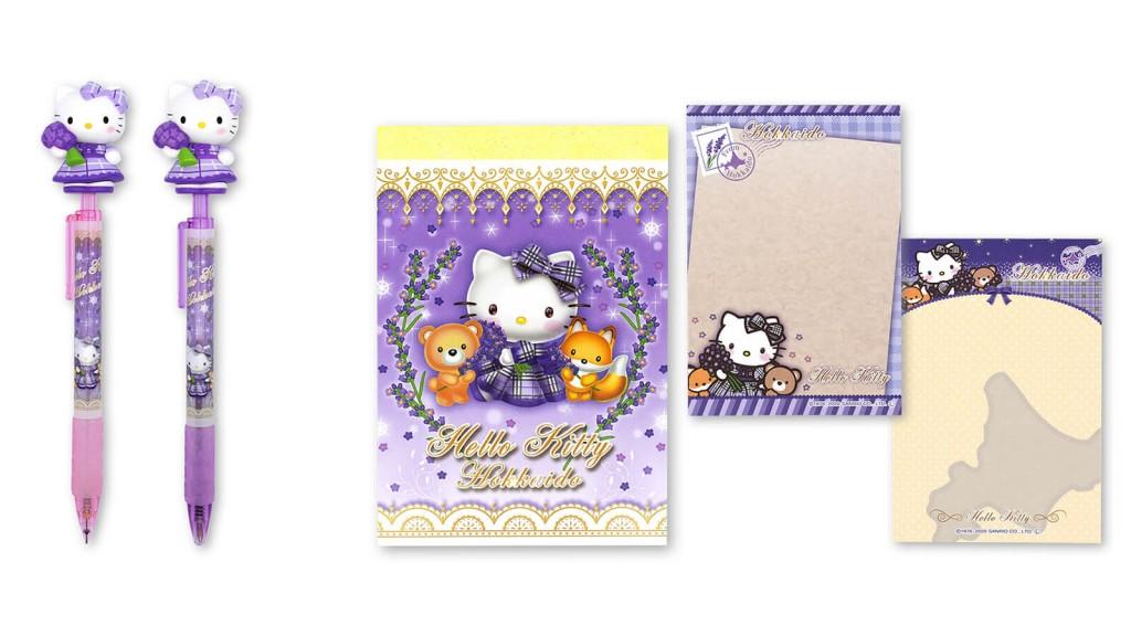 『ラベンダーチェックドレス・ハローキティ』-左より:シャープペン、ボールペン、B7メモ帳