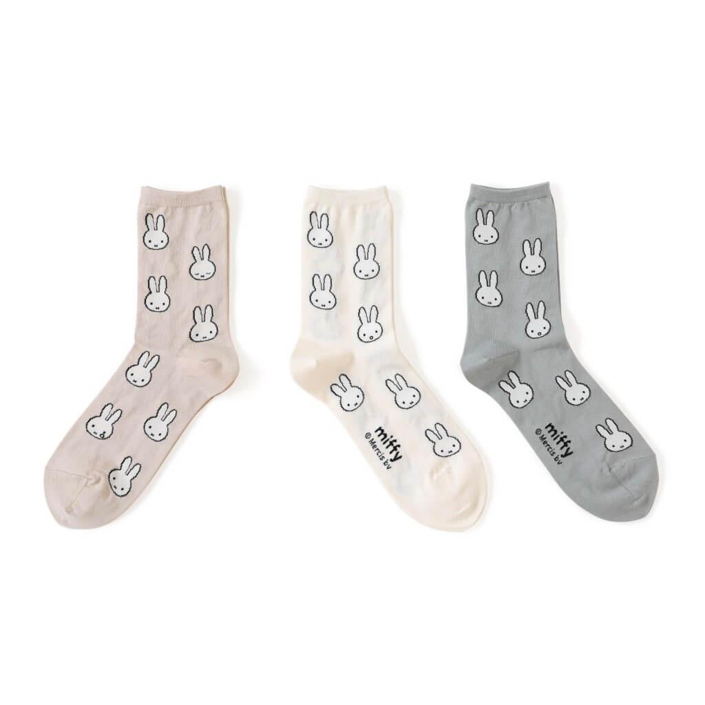 タビオ×「ミッフィー」とのコラボレーション靴下-ミッフィー総柄ショートソックス