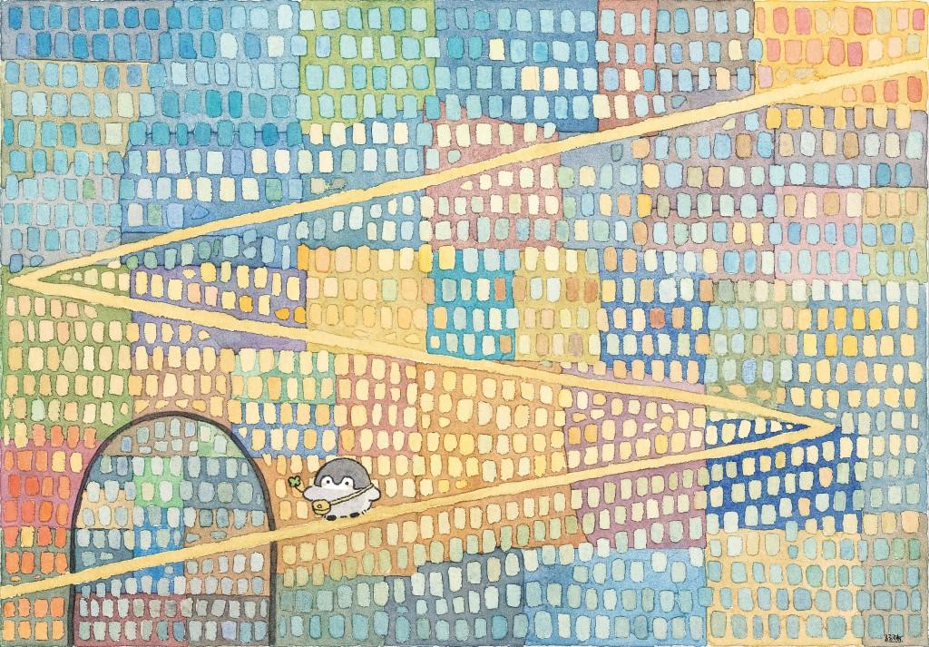コウペンちゃん にじいろミュージアム-新作描き下ろし複製原画(B5額装)「夢の底へ」