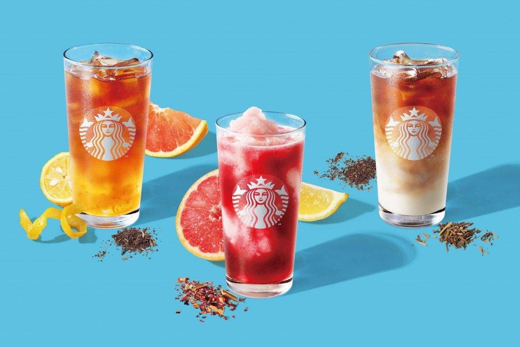 スターバックスの『ピンク フローズン レモネード & パッション ティー』・『ゆず シトラス & ティー』・『ほうじ茶 & クラシックティー ラテ』