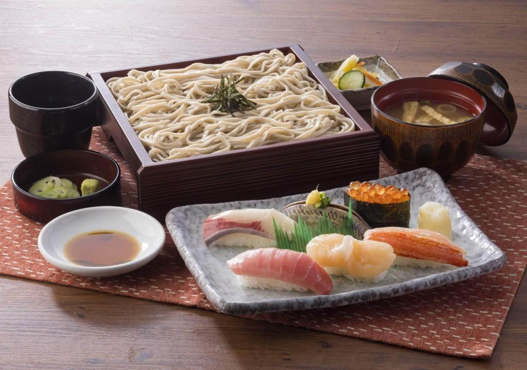 北海道生まれ和食処とんでんの『握り上鮨と北海道そば』
