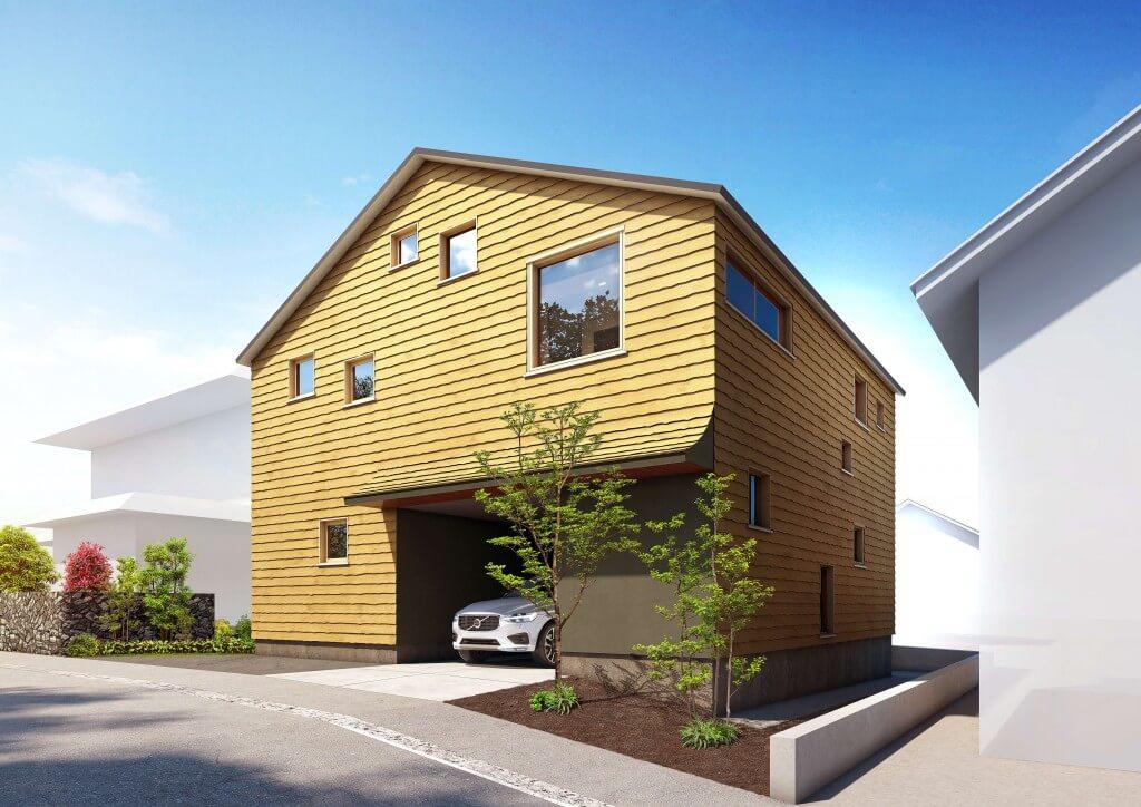 HOUPARKの「SUDOホーム北海道」新規モデルハウス-三角の屋根と外壁道産杉張りのシンプルな外観美