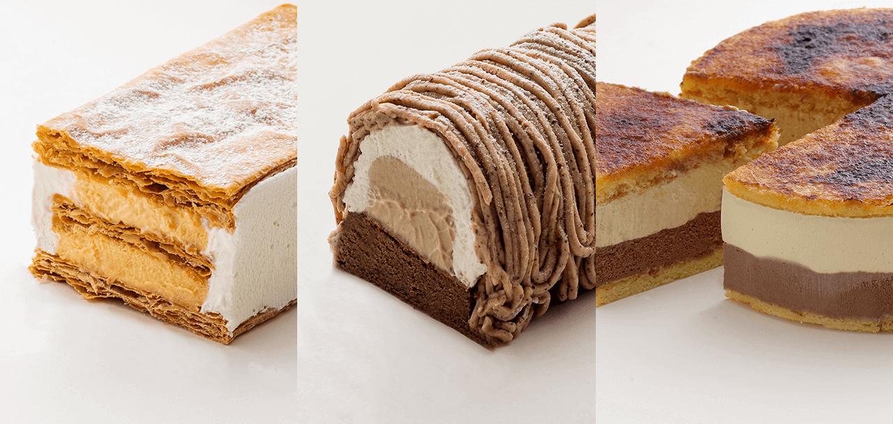 ISHIYAの冷凍ケーキ『モンブラン』『サンマルク』『ミルフィーユ』