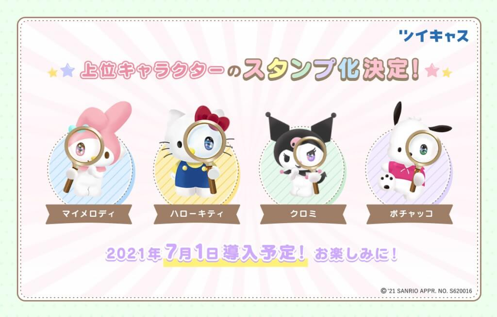 ツイキャスでコラボキャンペーン上位4キャラクターがスタンプ化!