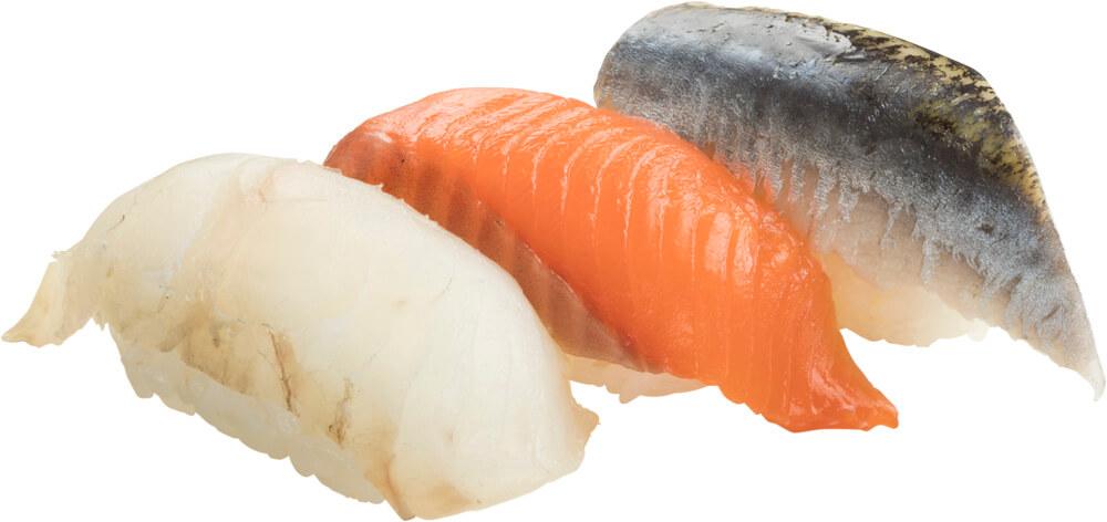 スシローの『天然魚3貫盛り(ひらめ・桜ます・いわし)』