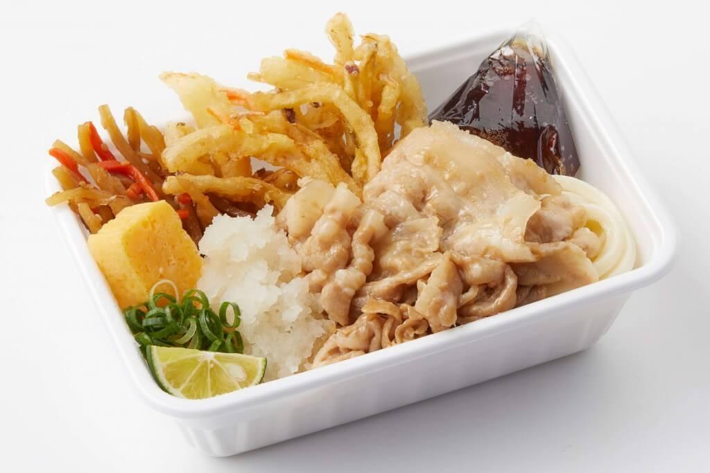 丸亀製麺の『豚の冷しゃぶと定番おかずのうどん弁当』