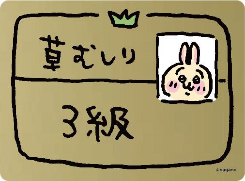 ちいかわの森-労働「草むしり」検定ステッカー(約H5.5cmW9cm)