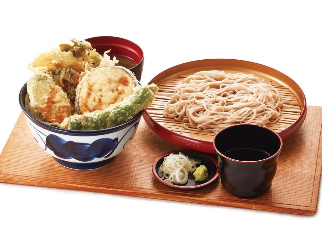 天丼てんやの『国産夏野菜の天丼・小そば(小うどん)セット』