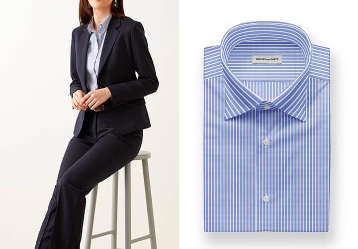 グローバルスタイルの『レディースオーダーシャツ』-オーダースーツ+シャツ3枚~セット