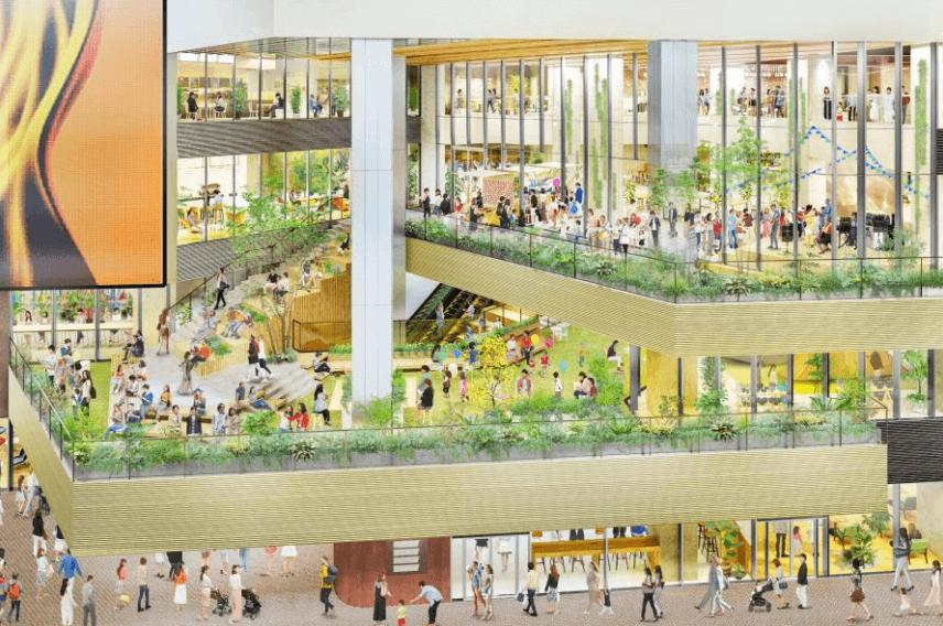『(仮称)札幌すすきの駅前複合開発計画』-屋内外広場(2~3階)イメージ