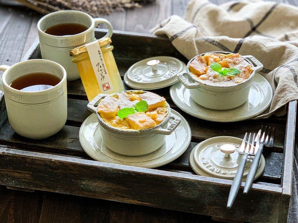 高級「生」食パン専門店「乃が美」の『白桃ジャム』-アレンジレシピ「白桃風味のパンプディング」
