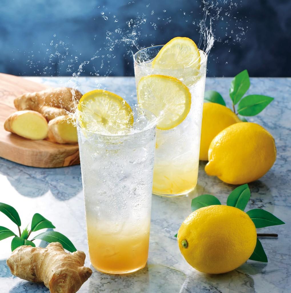 カフェ・ド・クリエの『薫るジンジャーエール~国産生姜使用~』『レモンスカッシュ~レモンピール入り~』
