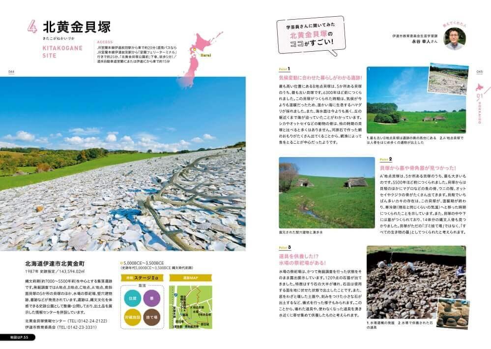 『北海道・北東北の縄文遺跡群を旅するガイド』-「北黄金貝塚」紹介ページ