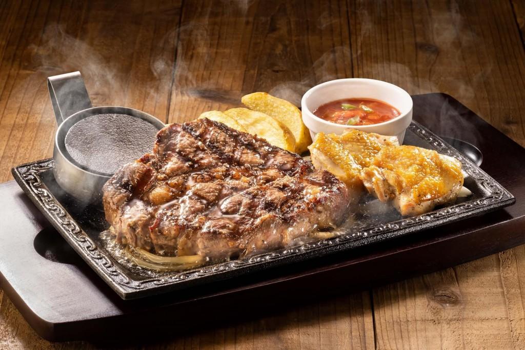 ステーキガストの『ウルグアイ産 厚切りビーフステーキ(約250g)&チキングリル(2個)』