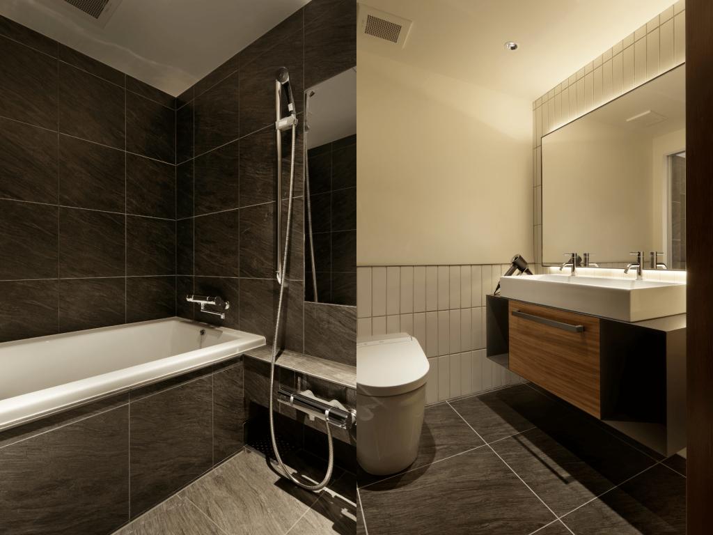 41PIECES Sapporoの旅の疲れを癒すバスタブと2名でもゆったり使える洗面スペース