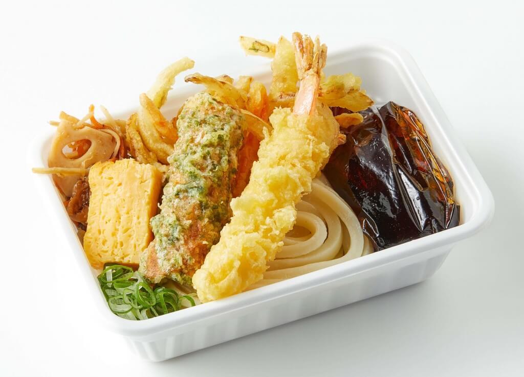 丸亀製麺の『人気の天ぷら4種と定番おかずのうどん弁当』