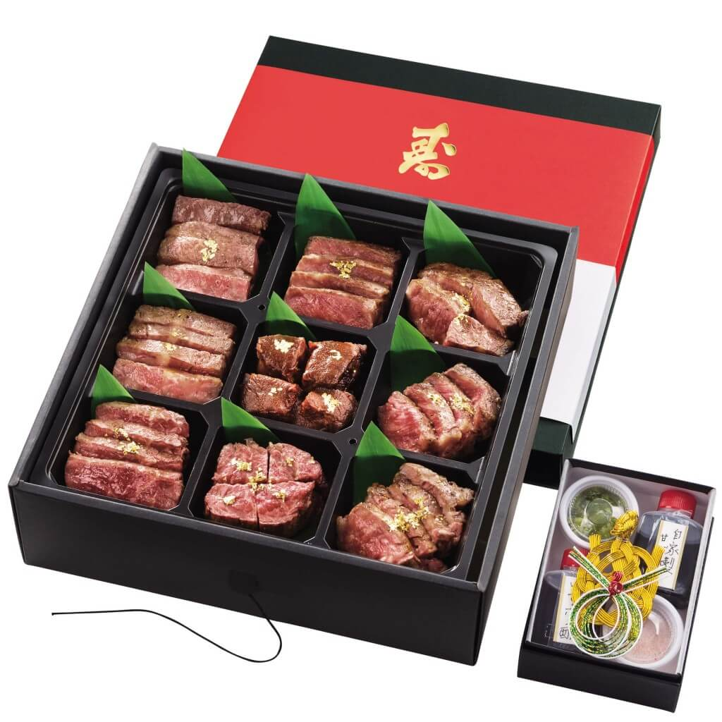 大丸・松坂屋 おせち2022-ひすい焼きステーキ 八傳 近江牛づくし 一段