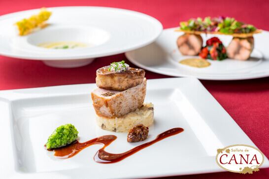 レストラン サロット・デ・カナの『ディナー 夢の大地豚ロースとフォアグラのポワレ』