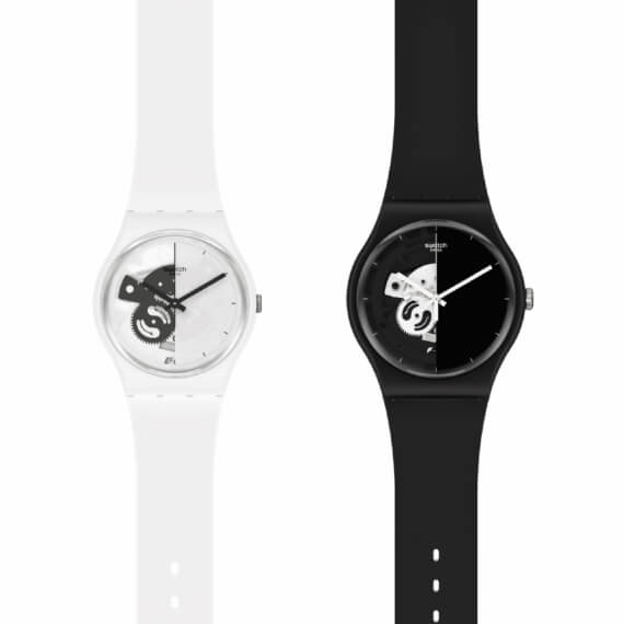 SWATCH-LIVE TIME BLACK/LIVE TIME WHITE